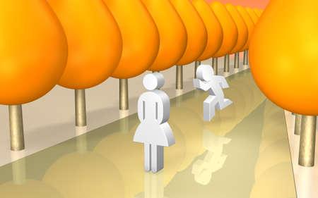 tardiness: Man is running toward her in autumn avenue