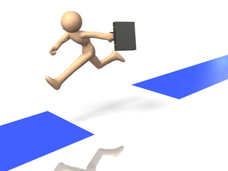 adversity: Businessman is jumping over the road that has been shredded.