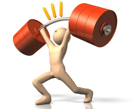 The strong man has weightlifting.