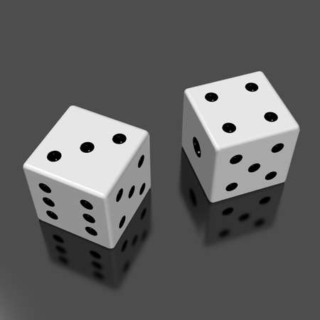 34: Rendered image of the two dice  Stock Photo