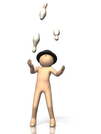 feats: Juggler is juggling . Stock Photo
