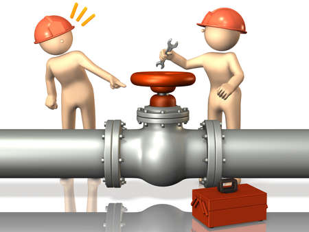 Tow engineers will inspect the valve. Stock Photo - 16385456