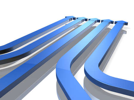advancing: Five arrows representing advancing  Stock Photo