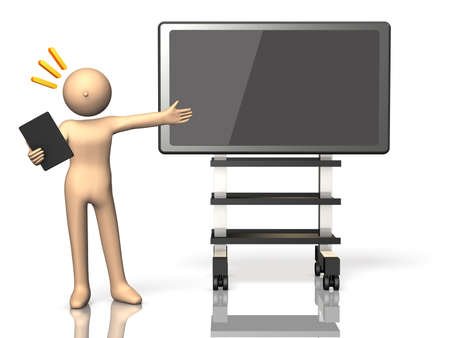 solicitation: He made a presentation using the electronic blackboard. Stock Photo