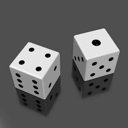 four eyes: Rendered image of the two dice  Stock Photo