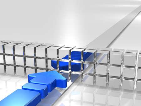 파란색 화살표는 장애물에 의해 방해된다. 스톡 콘텐츠
