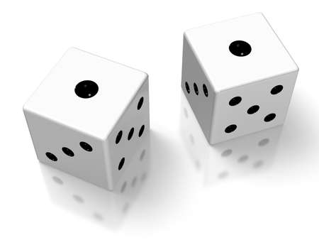 11 number: Rendered image of the two dice  Stock Photo