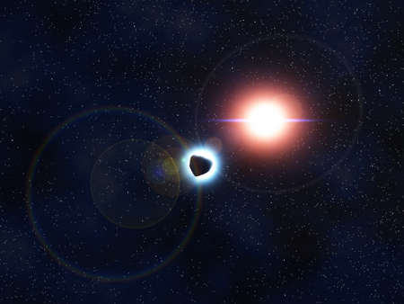 meteorites: Computer generated image depicting a bright comet in the universe