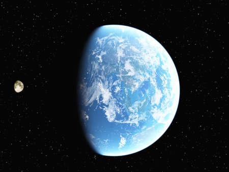 コンピューター生成された地球と月の画像 写真素材