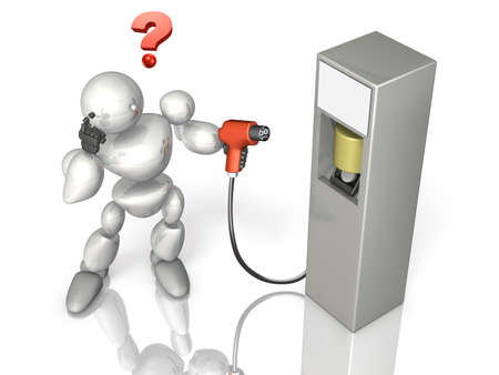 Robot is wondering how he can use the next generation energy power supply Stock Photo - 18012570