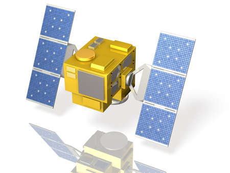 hypothetical: Miniature model of a hypothetical satellite Stock Photo