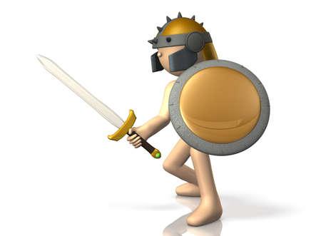 swordsman: Swordsman takes up the sword.  Stock Photo