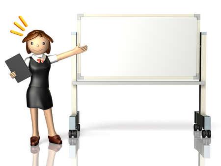 She has a presentation,using a whiteboard.
