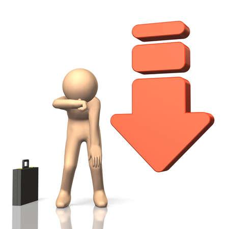 reduced value: 3DCG resumen ilustraci�n que representa un fracaso