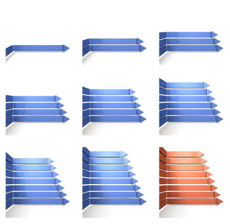 overlapped: overlapped eight arrows Stock Photo