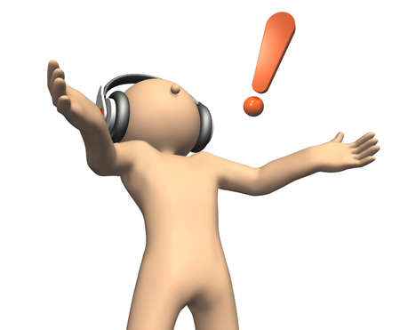 arousal: He was arousal listening to music. Stock Photo