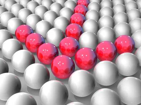 빨간 공으로 구성된 화살표