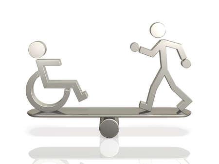 장애 및 수 바디 사람과 사람의 평등 한 권리. 스톡 콘텐츠