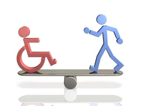 できる bodied 人と障害者の平等な権利。 写真素材 - 19911646