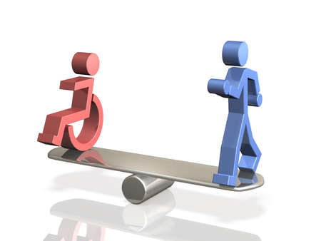 Equal rights of people with disabilities and able bodied person. Stock Photo - 19911645