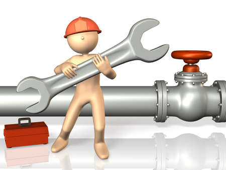 Reliable engineers are working with a large tool This is a computer generated image,on white background