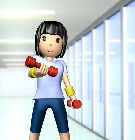 Cute woman has a muscle training with dumbbells  photo