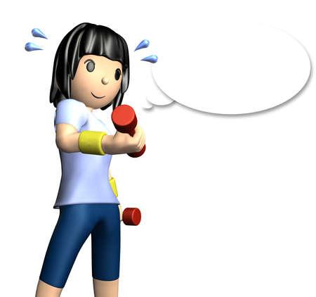 muskeltraining: Nette Frau hat ein Muskeltraining mit Hanteln