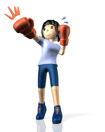 Young woman is in training for boxing This is a computer generated image,on white background  photo