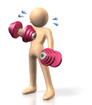 Dumbbell training  This is a computer generated image,on white background  Stock Photo