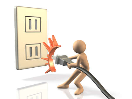 He pulled an outlet for energy saving This is a computer generated image,on white background  Stock Photo - 21150219