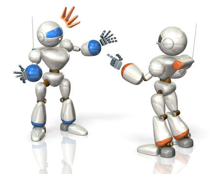 Two robots have a debate This is a computer generated image,on white background  Stock Photo