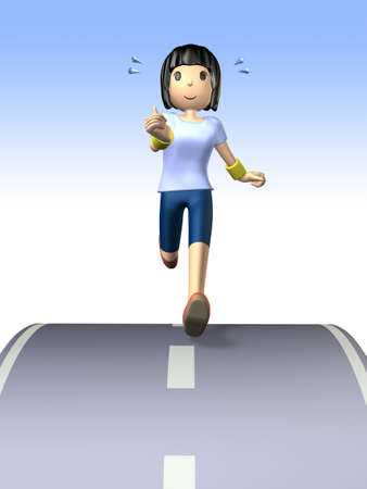 She is sweating in jogging  photo