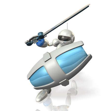 ヒューマノイド ロボットの兵士が行進しています。
