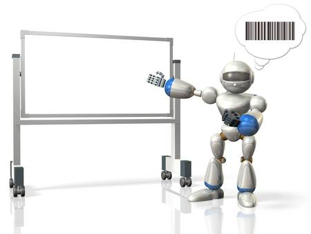 proponent: Robot has a presentation using the whiteboard This is a computer generated image,on white background