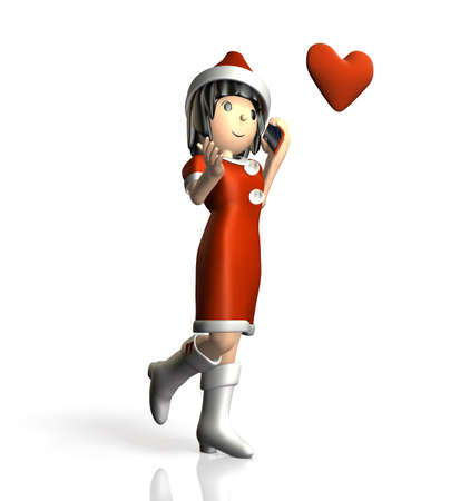 isolated   computer generated image   Woman is calling ,wearing a Santa Claus outfit  写真素材