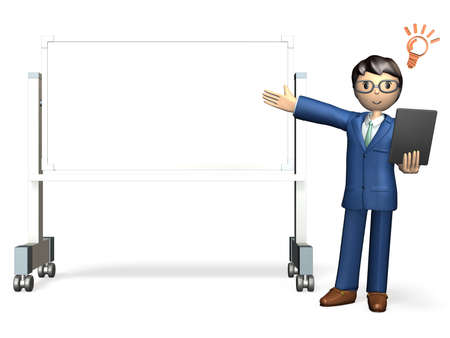 solicitation: Business man is making a presentation in front of the white board  Stock Photo