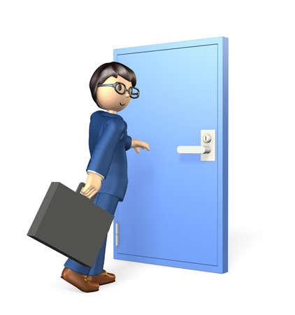 In front of the steel door, businessman is reaching for its doorknob