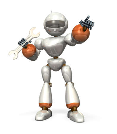 humanoid: White humanoid robot, having  wrench  It is pointing at something