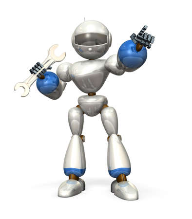White humanoid robot, having  wrench  It is pointing at something  photo
