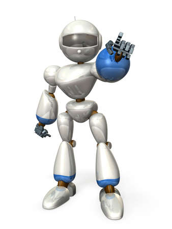 instructs: Robot is pointing something  It has expressed a strong wish  Stock Photo