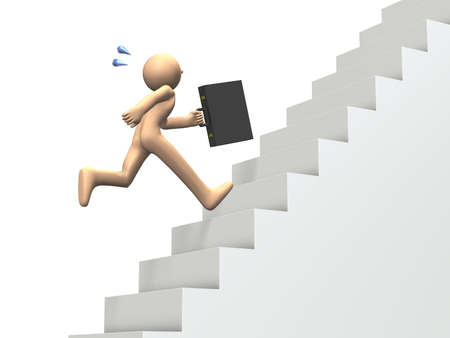 Businessman run up the stairs  isolated image  photo