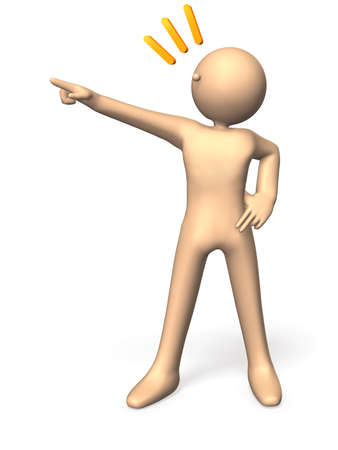 Character, pointing something isolated  computer generated image