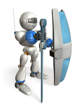Robot with a big sword and shield isolated  computer generated image