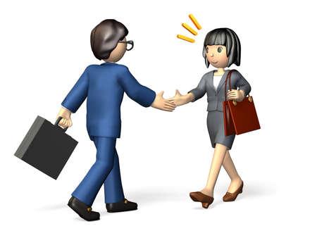그녀는 그녀의 새로운 비즈니스 파트너를 만나, 그의 첫 인상은 훌륭했다 스톡 콘텐츠