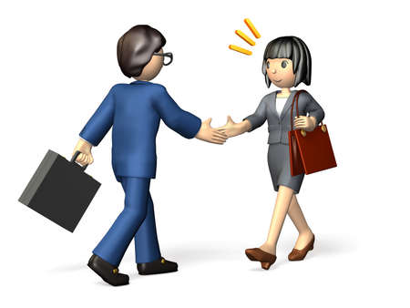 impression: She met with a new business partner  For her, the first impression of him was wonderful