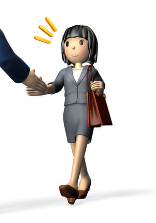 Woman wearing a business suit is shaking hands. First impression of the opponent is good. Stockfoto