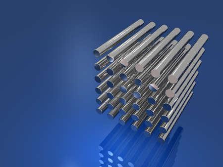 一直線に並べられた金属柱ブルー 写真素材 - 24231518