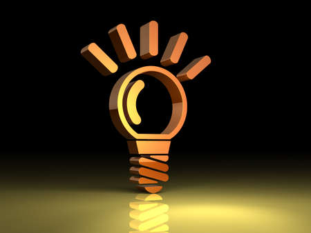 Light bulb is lit  This is a symbol reminiscent of the idea