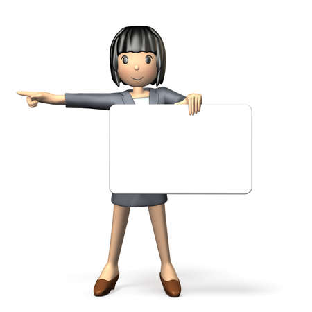 message board: Woman to guide using the message board Stock Photo
