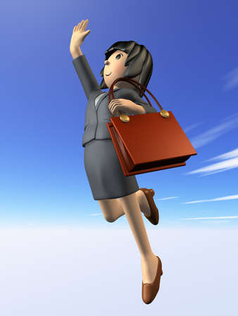 Woman in a suit to jump toward the goal.side view. Digitally generated image. photo